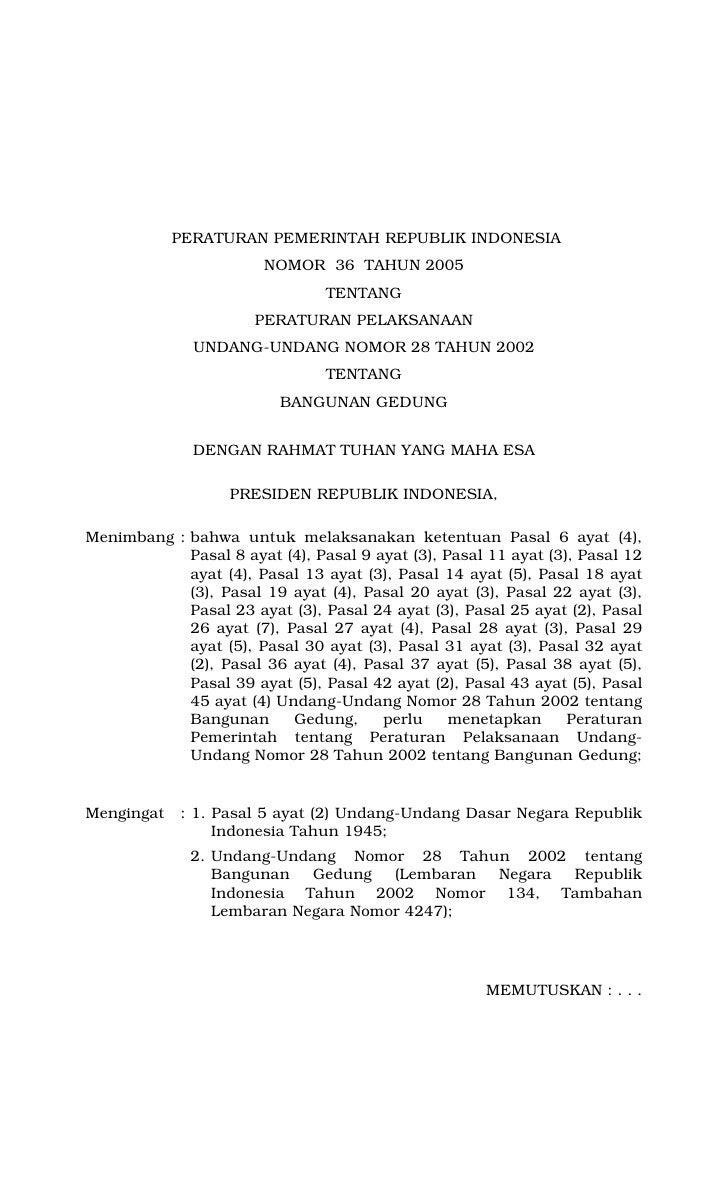 PERATURAN PEMERINTAH REPUBLIK INDONESIA                         NOMOR 36 TAHUN 2005                                 TENTAN...