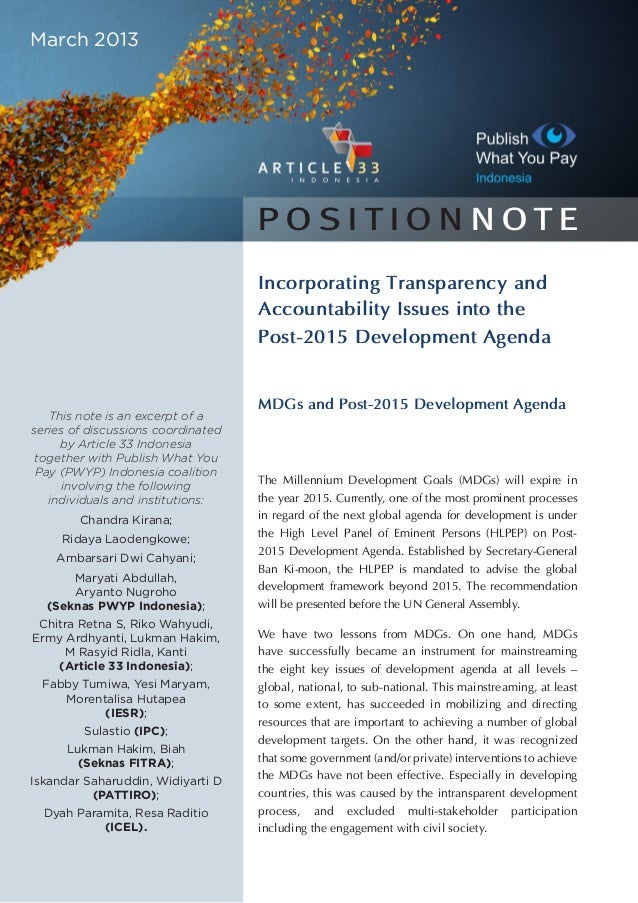 Incorporating Transparency and Accountability Issues into the Post-2015 Development Agenda MDGs and Post-2015 Development ...