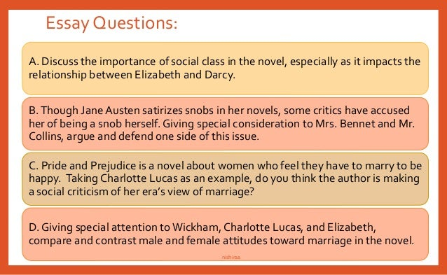 pride and prejudice essay questions jane austen s love friendship  pride and prejudice themes compiled by nish nishiraa 68