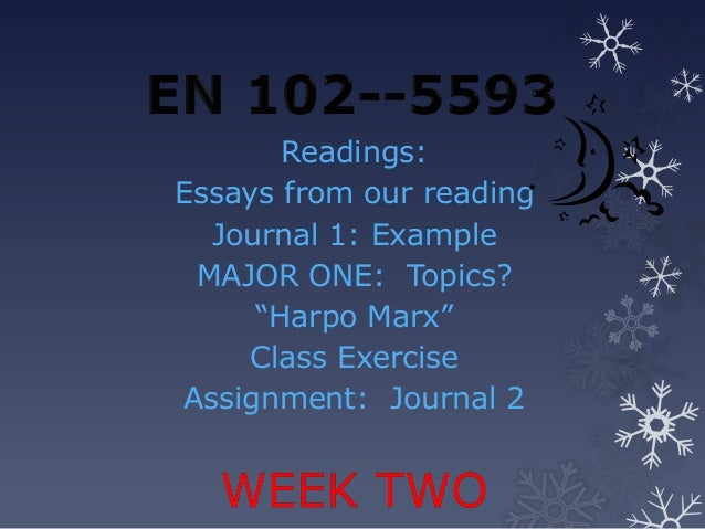 """Readings:Essays from our reading  Journal 1: Example MAJOR ONE: Topics?     """"Harpo Marx""""    Class ExerciseAssignment: Jour..."""
