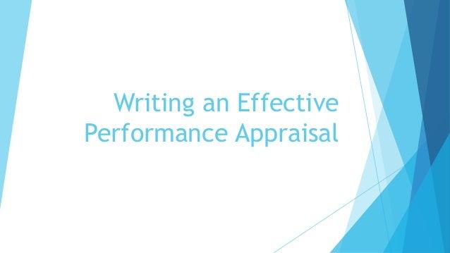 Writing an Effective Performance Appraisal