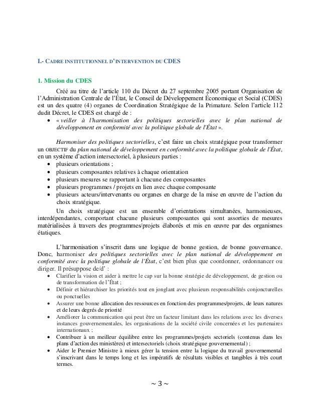 ~ 3 ~ I.- CADRE INSTITUTIONNEL D'INTERVENTION DU CDES 1. Mission du CDES Créé au titre de l'article 110 du Décret du 27 se...