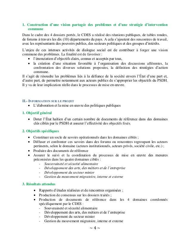 ~ 4 ~ 1. Construction d'une vision partagée des problèmes et d'une stratégie d'intervention commune Dans le cadre des 4 do...