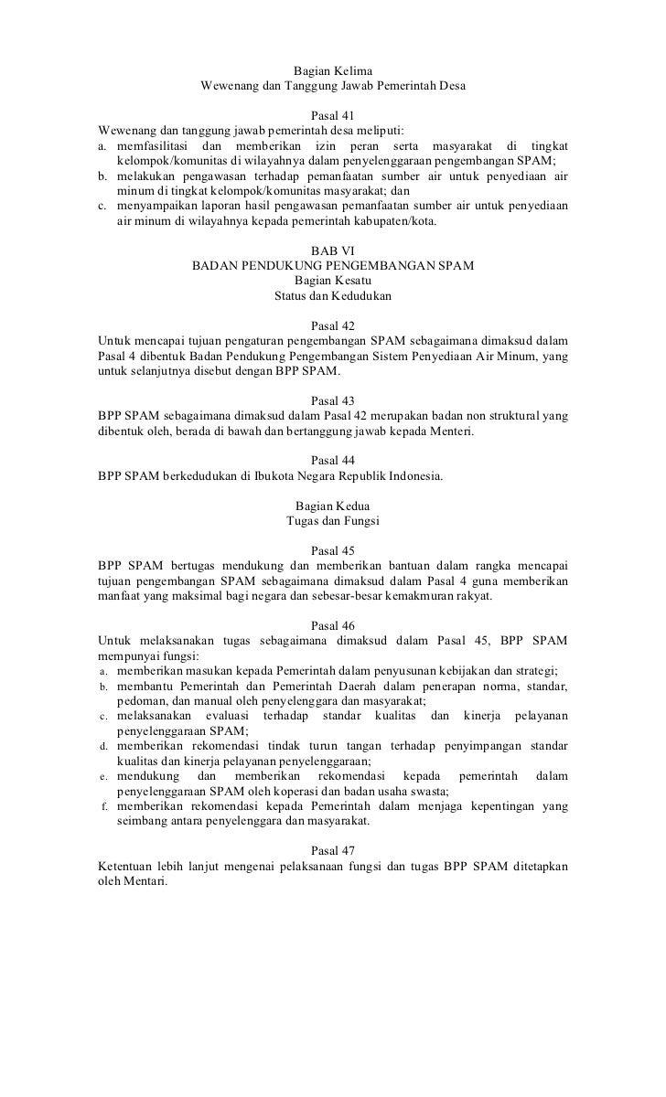 Bagian Kelima                 Wewenang dan Tanggung Jawab Pemerintah Desa                                     Pasal 41Wewe...