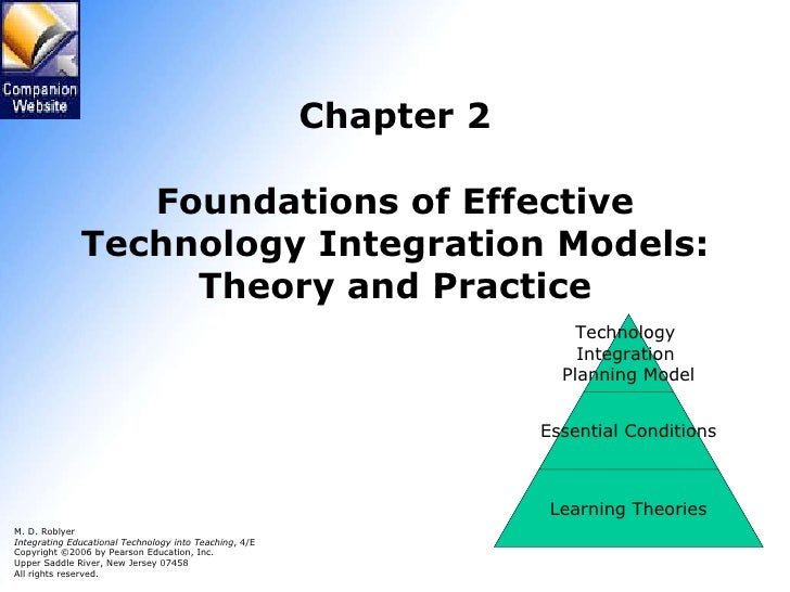 Chapter 2 Foundations of Effective Technology Integration Models: Theory and Practice M. D. Roblyer Integrating Educationa...