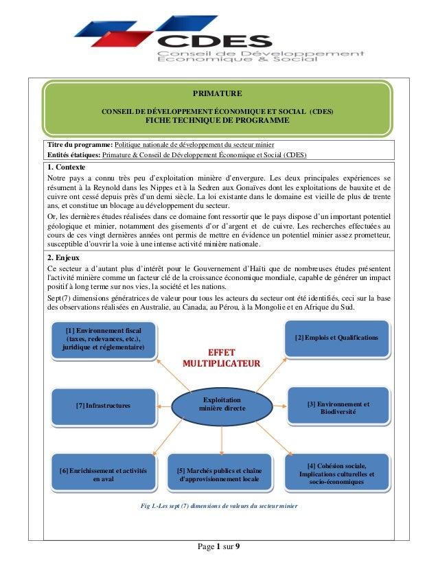 Page 1 sur 9 Titre du programme: Politique nationale de développement du secteur minier Entités étatiques: Primature & Con...