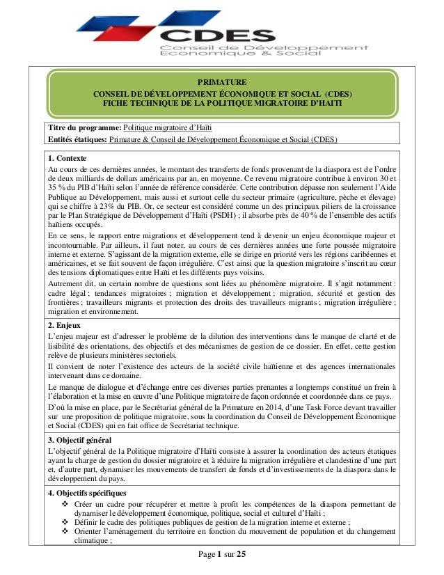 Page 1 sur 25 Titre du programme: Politique migratoire d'Haïti Entités étatiques: Primature & Conseil de Développement Éco...