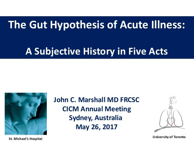 The Gut Hypothesis of Acute Illness: A Subjective History in Five Acts John C. Marshall MD FRCSC CICM Annual Meeting Sydne...