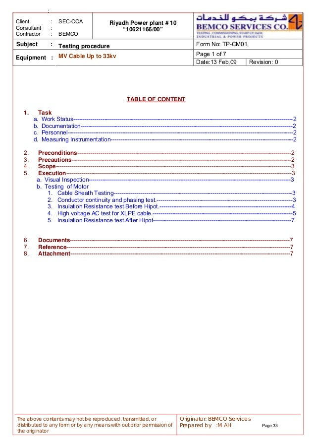 Cable Insulation Resistance Test Form : Pp startup manual unofficial as requested