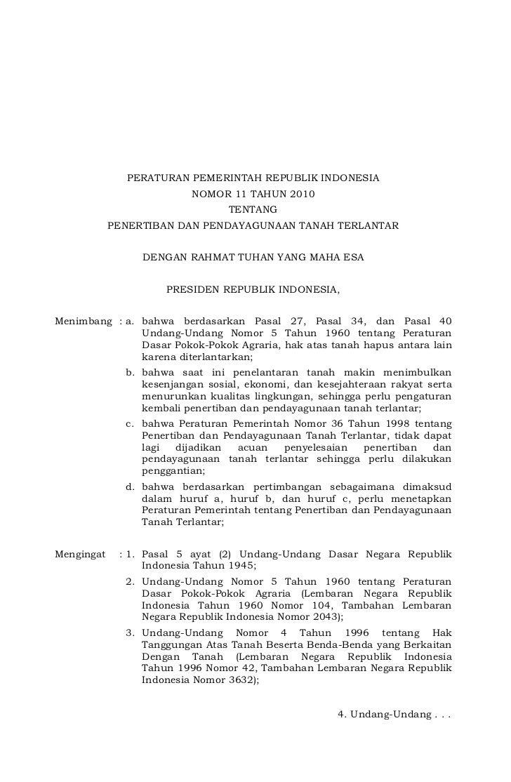 PERATURAN PEMERINTAH REPUBLIK INDONESIA                           NOMOR 11 TAHUN 2010                                  TEN...