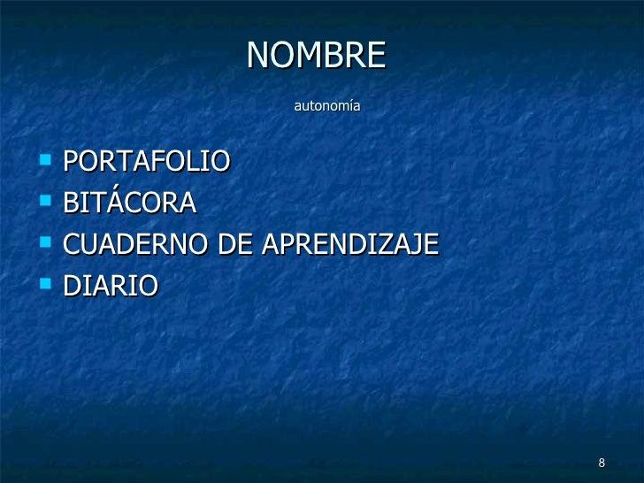 NOMBRE    autonomía <ul><li>PORTAFOLIO </li></ul><ul><li>BITÁCORA </li></ul><ul><li>CUADERNO DE APRENDIZAJE </li></ul><ul>...