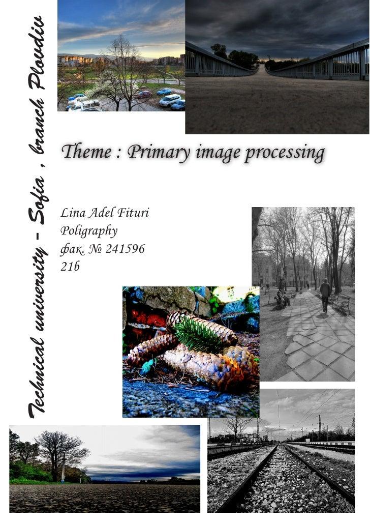 Technical university - Sofia , branch Plovdiv                                                     Theme : Primary image pr...