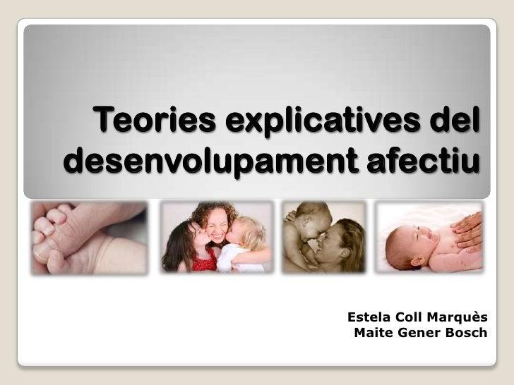 Teories explicatives deldesenvolupament afectiu                 Estela Coll Marquès                  Maite Gener Bosch