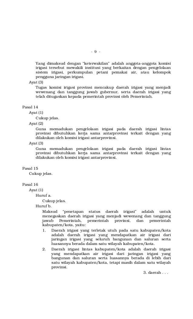 """- 9 - Yang dimaksud dengan """"keterwakilan"""" adalah anggota-anggota komisi irigasi tersebut mewakili institusi yang berkaitan..."""