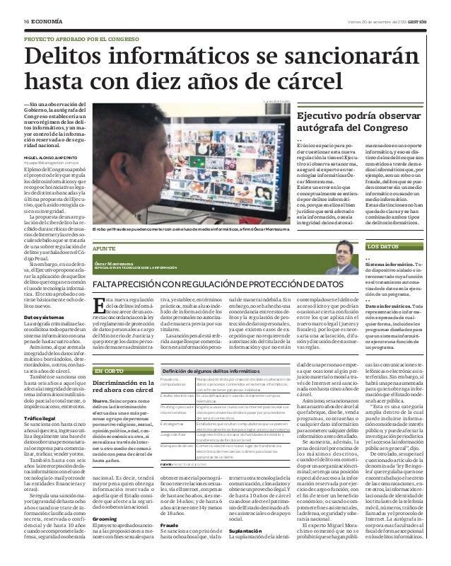 16 Viernes 20 de setiembre del 2013 GESTIÓNECONOMÍA Delitos informáticos se sancionarán hasta con diez años de cárcel PROY...