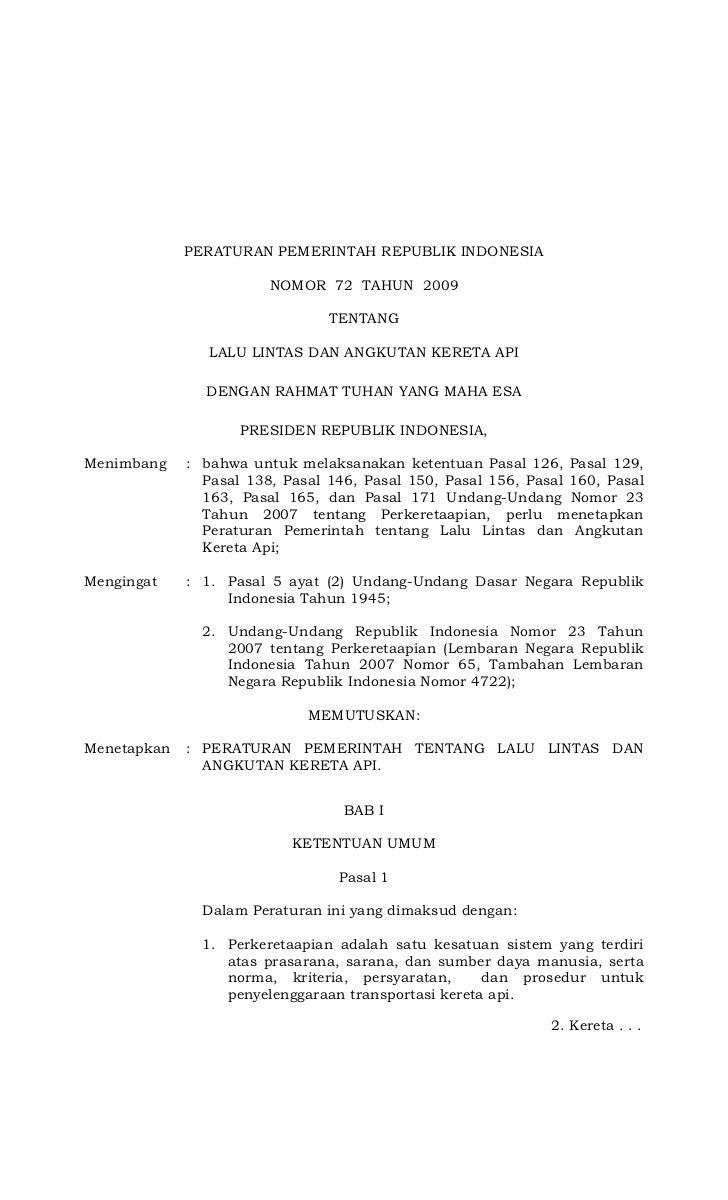 PERATURAN PEMERINTAH REPUBLIK INDONESIA                        NOMOR 72 TAHUN 2009                                TENTANG ...