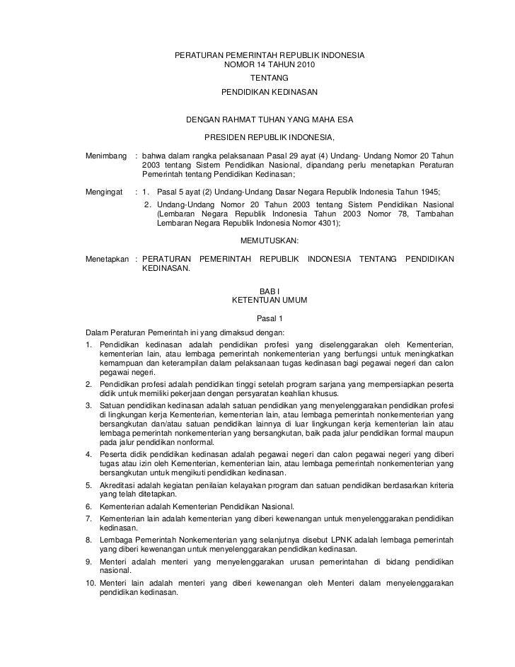 PERATURAN PEMERINTAH REPUBLIK INDONESIA                                 NOMOR 14 TAHUN 2010                               ...