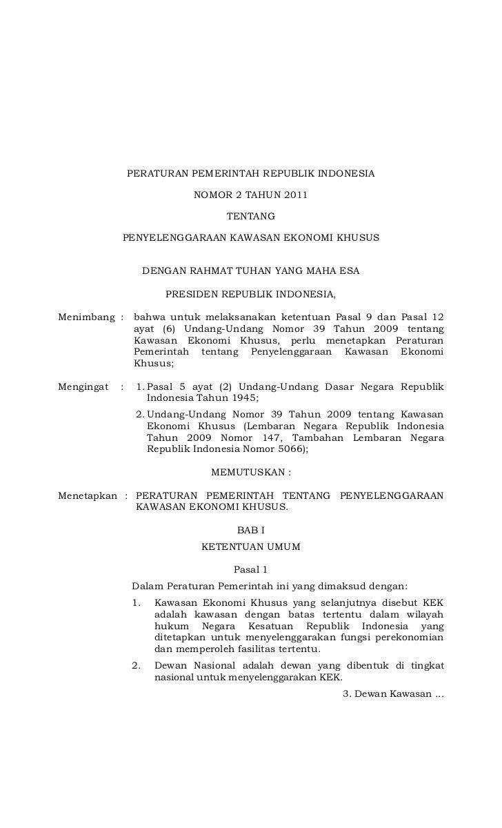 PERATURAN PEMERINTAH REPUBLIK INDONESIA                             NOMOR 2 TAHUN 2011                                   T...