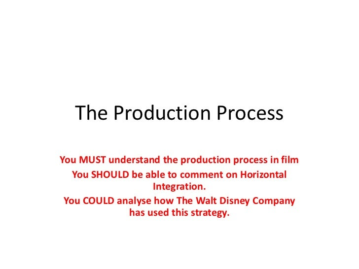 The Production Process<br />You MUST understand the production process in film<br />You SHOULD be able to comment on Horiz...