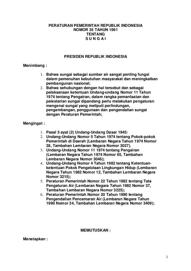 PERATURAN PEMERINTAH REPUBLIK INDONESIA                         NOMOR 35 TAHUN 1991                              TENTANG  ...