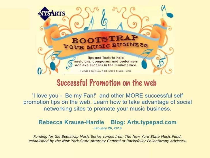 Successful Promotion on the web   'I love you -  Be my Fan!'  and other MORE successful self promotion tips on the web. Le...