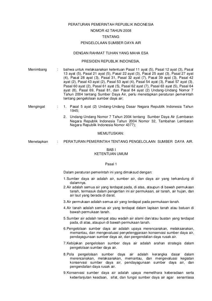 PERATURAN PEMERINTAH REPUBLIK INDONESIA                                  NOMOR 42 TAHUN 2008                              ...