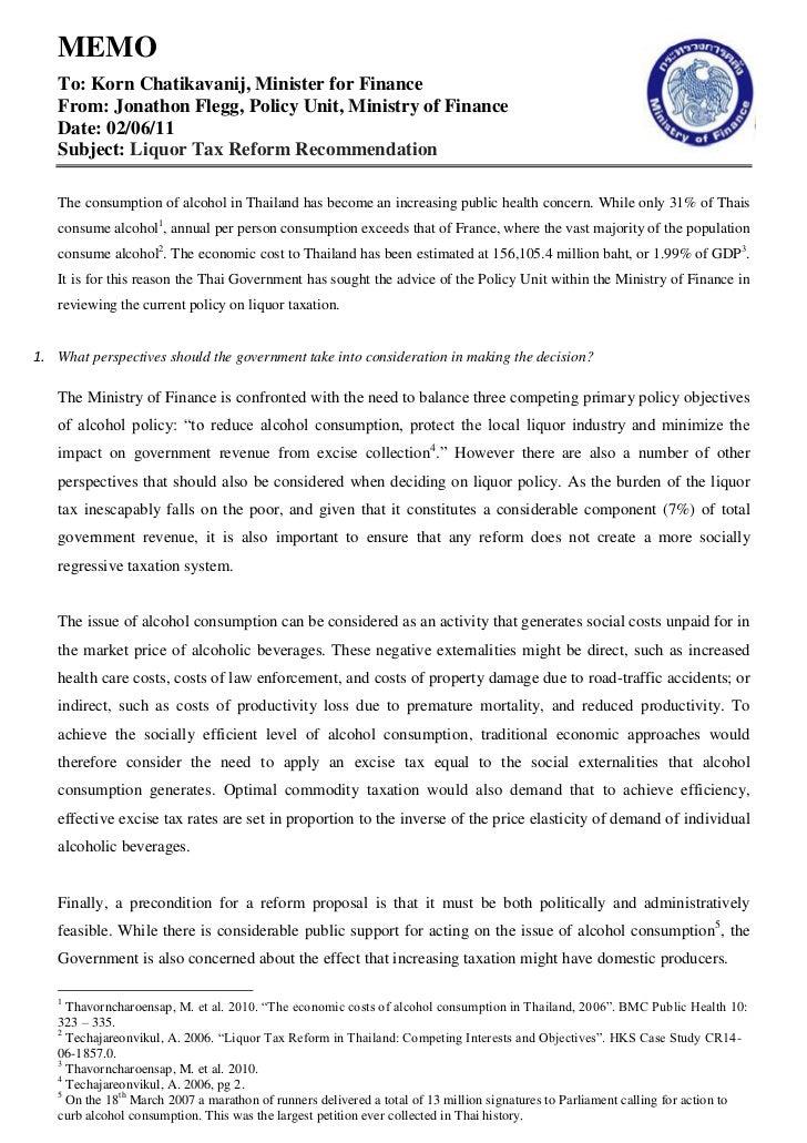 MEMO   To: Korn Chatikavanij, Minister for Finance   From: Jonathon Flegg, Policy Unit, Ministry of Finance   Date: 02/06/...