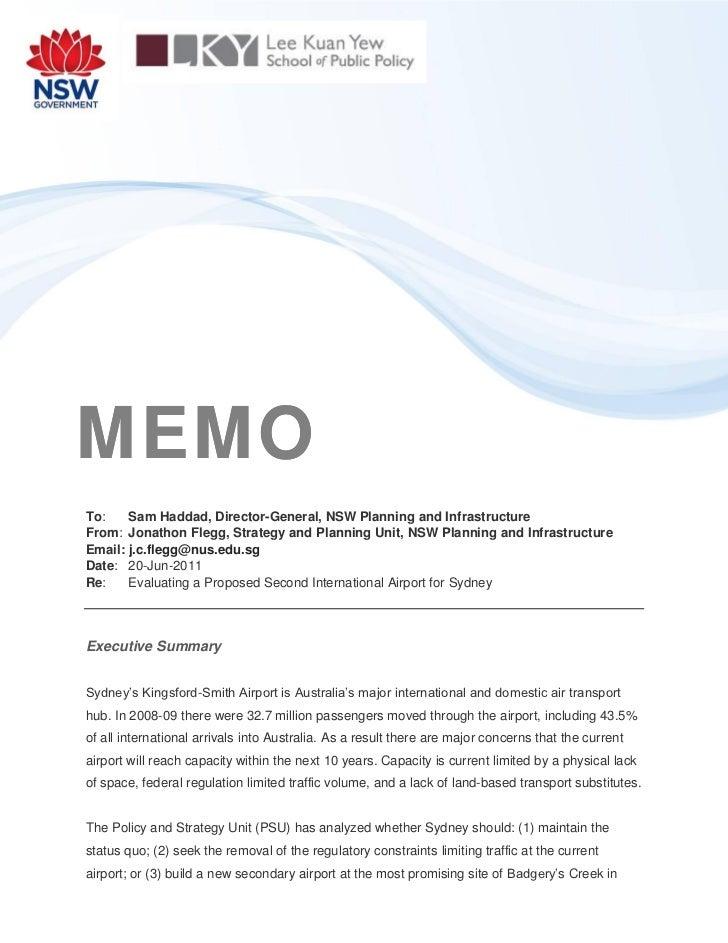 MEMOTo:    Sam Haddad, Director-General, NSW Planning and InfrastructureFrom: Jonathon Flegg, Strategy and Planning Unit, ...