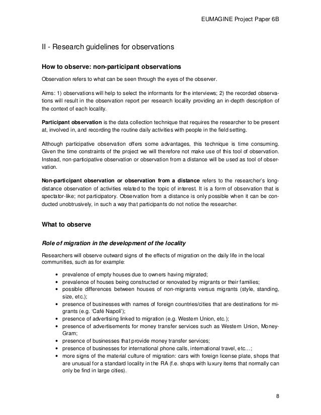 observation research paper Structure your paper clearly: 1 the introduction includes an overview of the public space you observed and poses the research question 2 the body uses paragraph divisions to signal logical shifts in time, place, behaviours, or attention to different aspects of your research question.