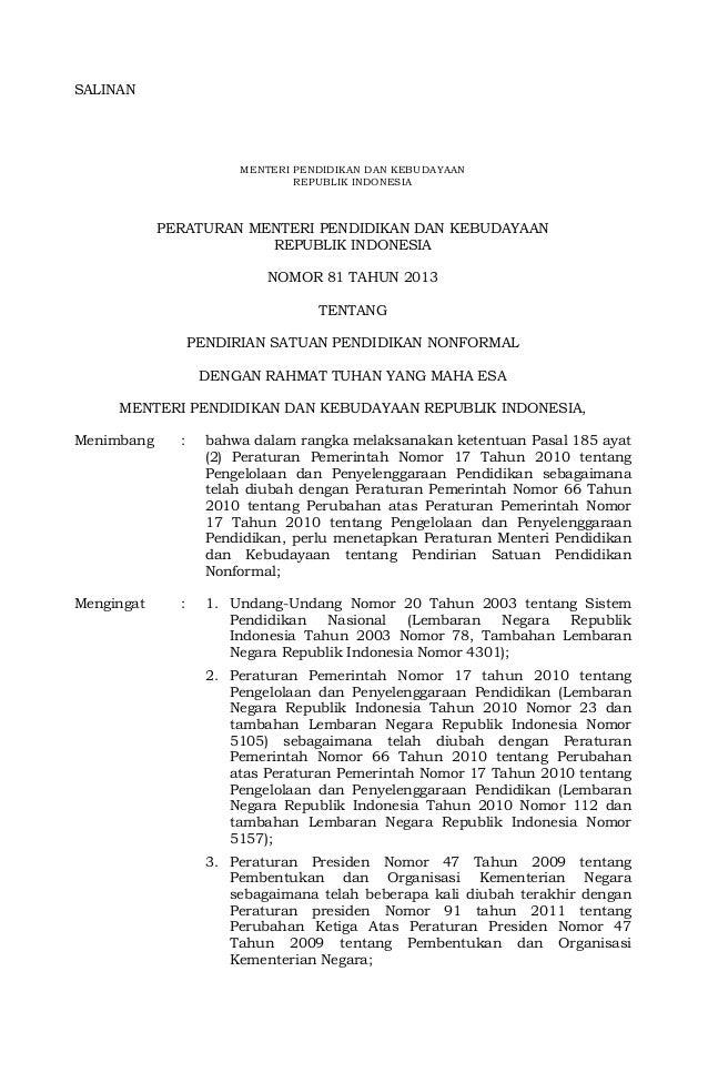 SALINAN  MENTERI PENDIDIKAN DAN KEBUDAYAAN REPUBLIK INDONESIA  PERATURAN MENTERI PENDIDIKAN DAN KEBUDAYAAN REPUBLIK INDONE...