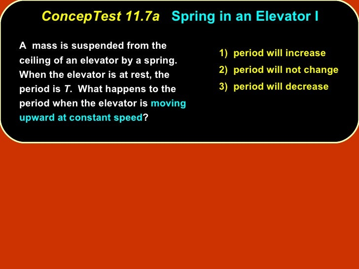 ConcepTest 11.7a   Spring in an Elevator I A  mass is suspended from the ceiling of an elevator by a spring.  When the ele...