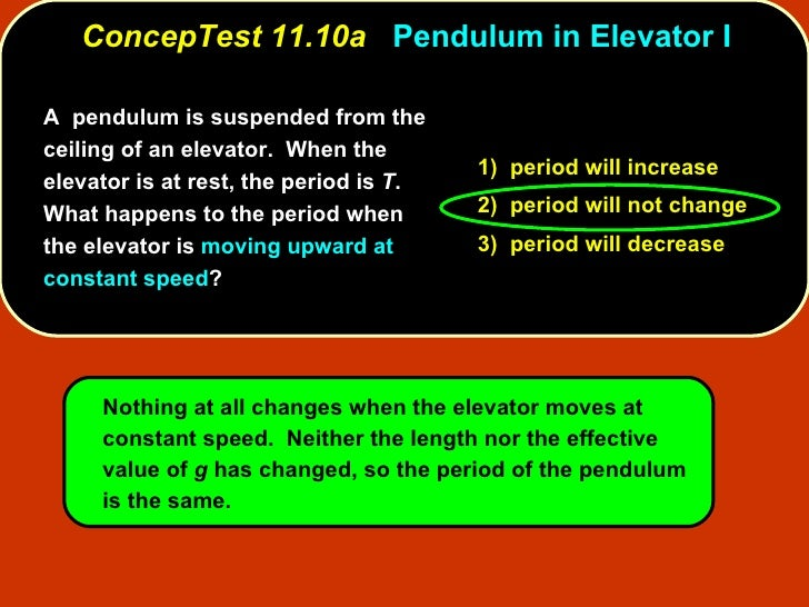ConcepTest 11.10a   Pendulum in Elevator I A  pendulum is suspended from the ceiling of an elevator.  When the elevator is...