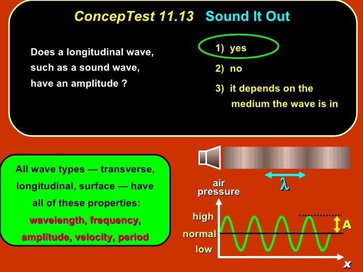 ConcepTest 11.13   Sound It Out <ul><li>Does a longitudinal wave, such as a sound wave, have an amplitude ? </li></ul>1)  ...
