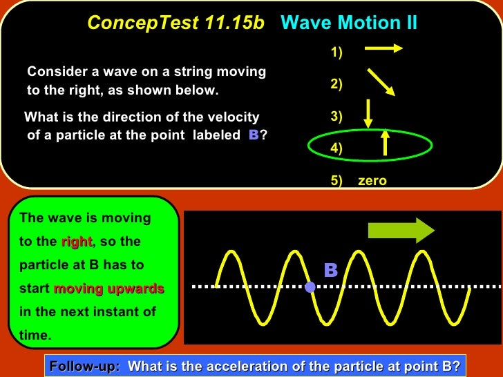 <ul><li>Consider a wave on a string moving to the right, as shown below.  </li></ul><ul><li>What is the direction of the v...