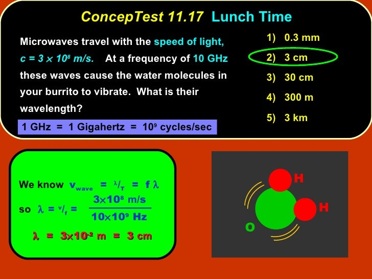 ConcepTest 11.17   Lunch Time <ul><li>Microwaves travel with the  speed of light,  c = 3    10 8  m/s.   At a frequency o...