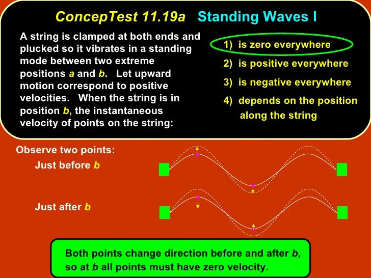 ConcepTest 11.19a   Standing Waves I <ul><li>A string is clamped at both ends and plucked so it vibrates in a standing mod...