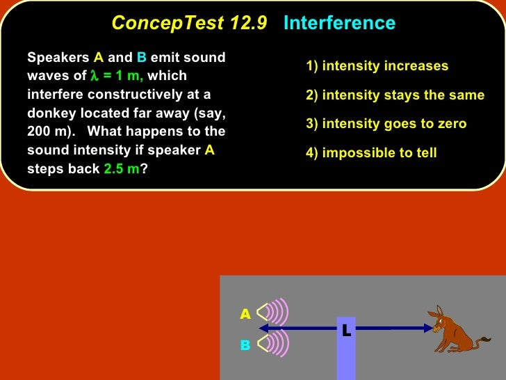 <ul><li>Speakers  A  and  B  emit sound waves of    = 1 m,  which interfere constructively at a donkey located far away (...