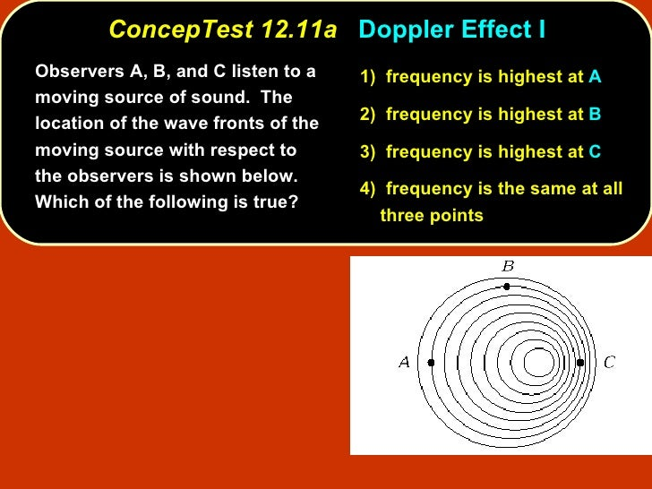 <ul><li>Observers A, B, and C listen to a moving source of sound.  The location of the wave fronts of the moving source wi...
