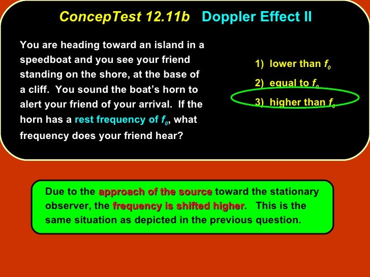 ConcepTest 12.11b   Doppler Effect II You are heading toward an island in a speedboat and you see your friend standing on ...