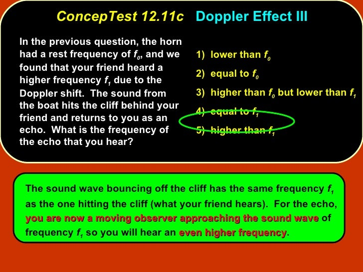 ConcepTest 12.11c   Doppler Effect III In the previous question, the horn had a rest frequency of  f 0 , and we found that...