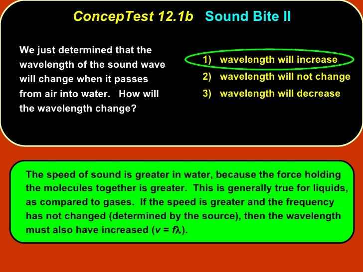 ConcepTest 12.1b   Sound Bite II We just determined that the wavelength of the sound wave will change when it passes from ...