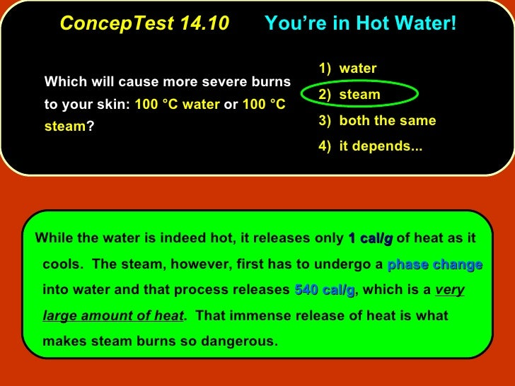 ConcepTest 14.10 You're in Hot Water! <ul><li>Which will cause more severe burns to your skin:  100 °C water  or  100 °C s...