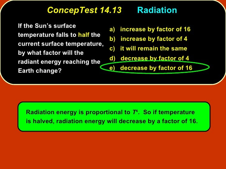 ConcepTest 14.13 Radiation  <ul><li>If the Sun's surface temperature falls to  half  the current surface temperature, by w...