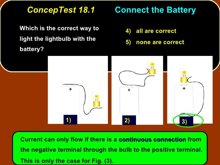 ConcepTest 18.1 Connect the Battery  <ul><li>Which is the correct way to light the lightbulb with the battery? </li></ul>C...