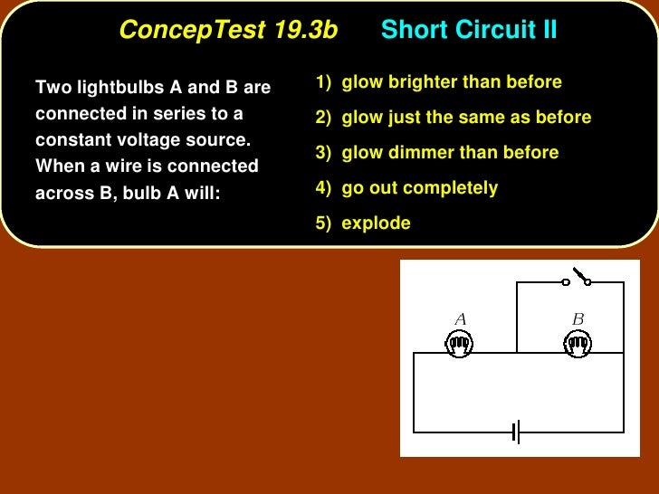 ConcepTest 19.3b           Short Circuit II  Two lightbulbs A and B are   1) glow brighter than before connected in series...