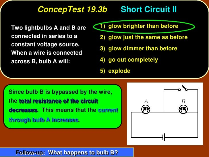 ConcepTest 19.3b                  Short Circuit II   Two lightbulbs A and B are           1) glow brighter than before  co...