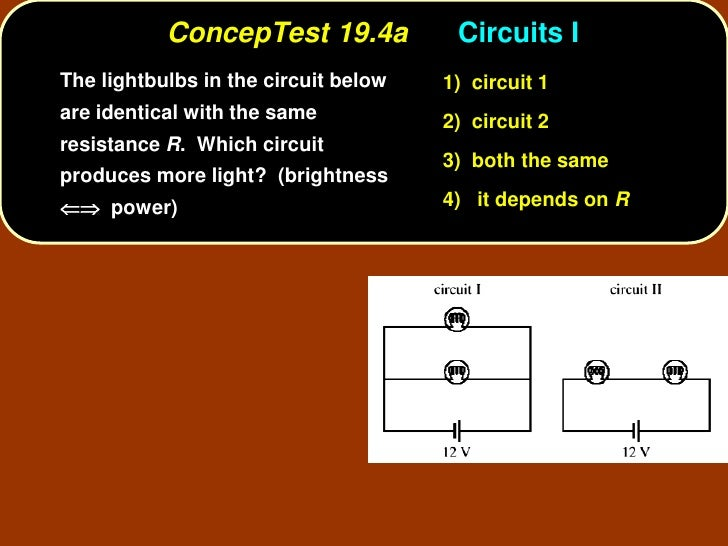 ConcepTest 19.4a            Circuits I The lightbulbs in the circuit below   1) circuit 1 are identical with the same     ...