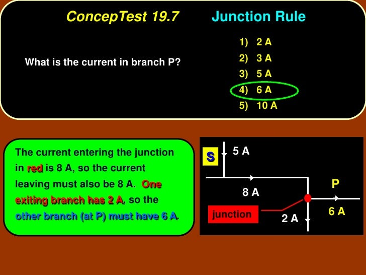 ConcepTest 19.7           Junction Rule                                           1) 2 A   What is the current in branch P...