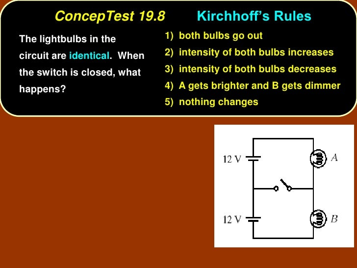 ConcepTest 19.8              Kirchhoff's Rules The lightbulbs in the         1) both bulbs go out  circuit are identical. ...