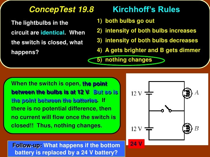 ConcepTest 19.8                Kirchhoff's Rules The lightbulbs in the          1) both bulbs go out  circuit are identica...